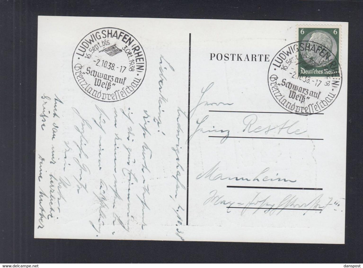 Dt. Reich PK Schwarz Auf Weiß Presseschau Ludwigshafen 1938 - Ludwigshafen