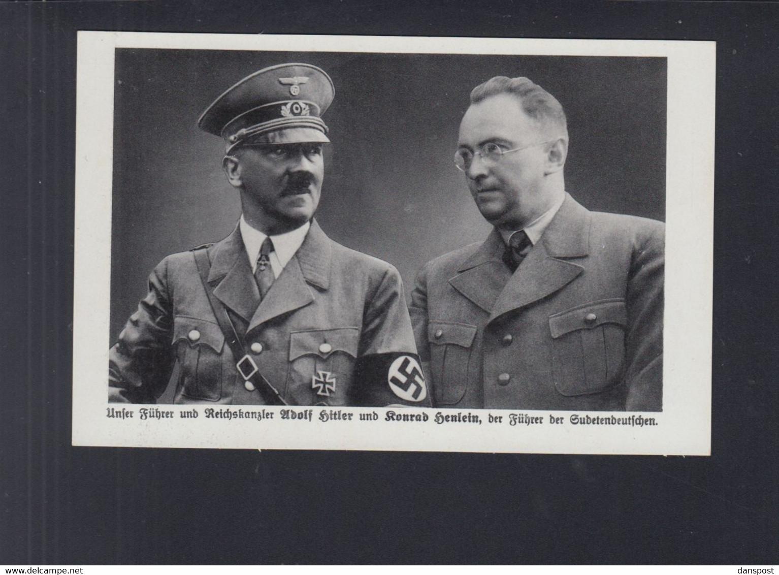Dt. Reich AK Hitler Und Henlein Stempel Warnsdorf 1938 - Historische Persönlichkeiten