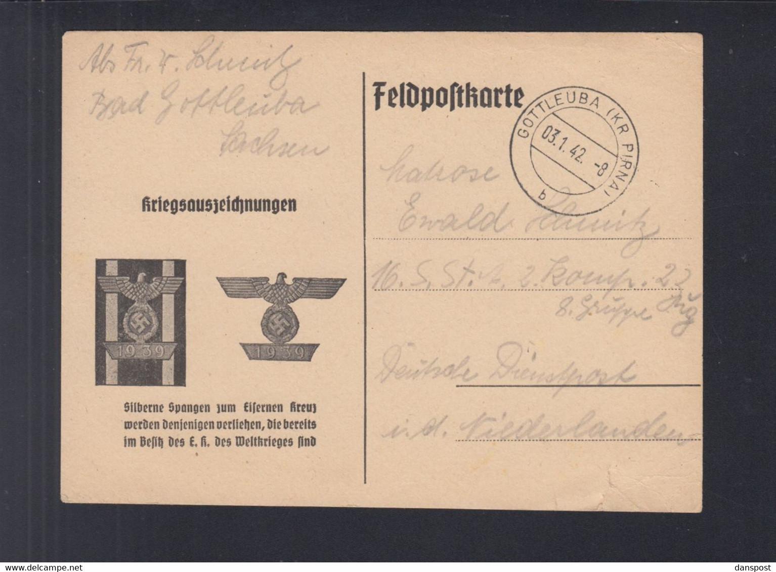 Dt. Reich Feldpost-PK Eisernes Kreuz Silberne Spange 1942 - Weltkrieg 1939-45