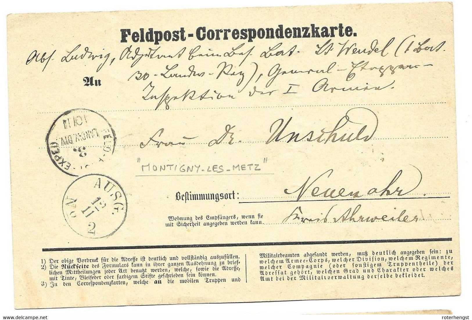 1871 Feldpost Card From A German Soldier In Montigny-les-Metz - Wars