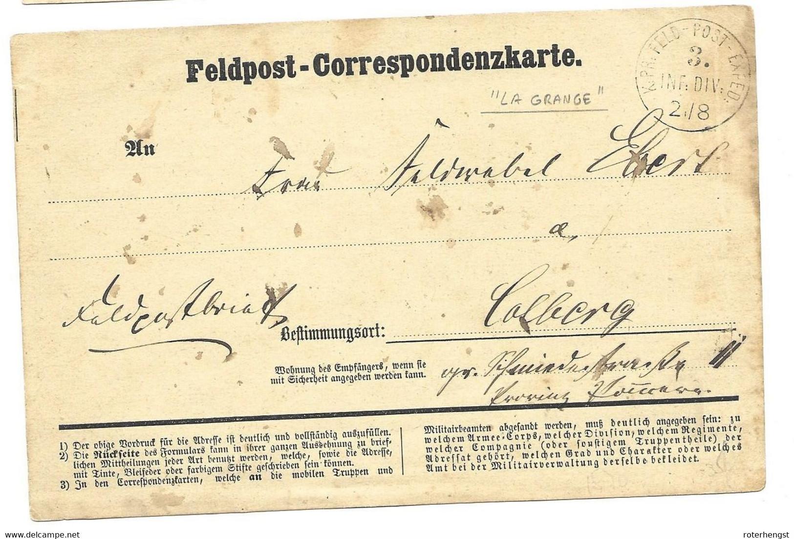 1870-71 Feldpost Card From A German Soldier In La Grange - Wars