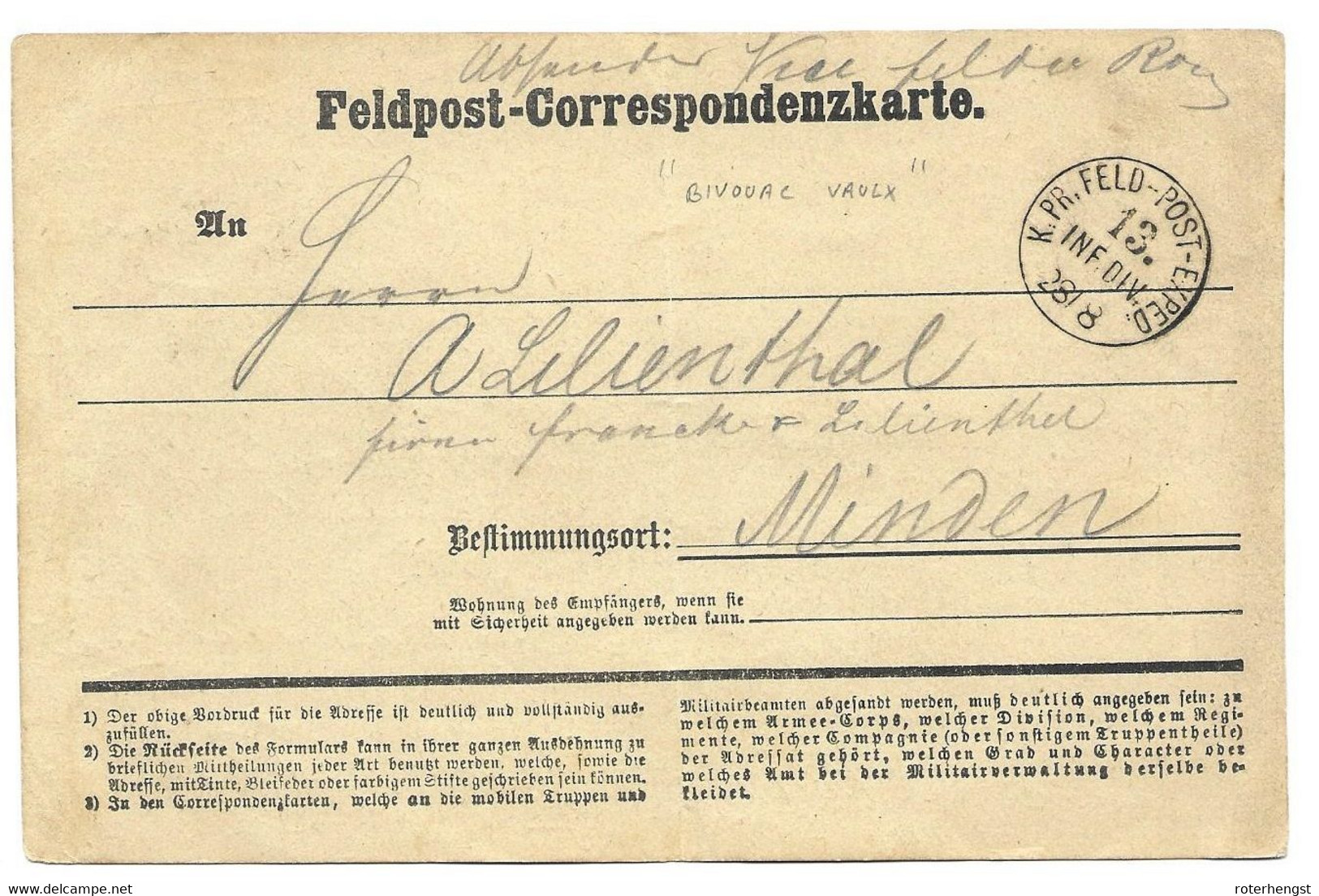 1870-71 Feldpost Card From A German Soldier In Bivouac / Vaulx - Wars