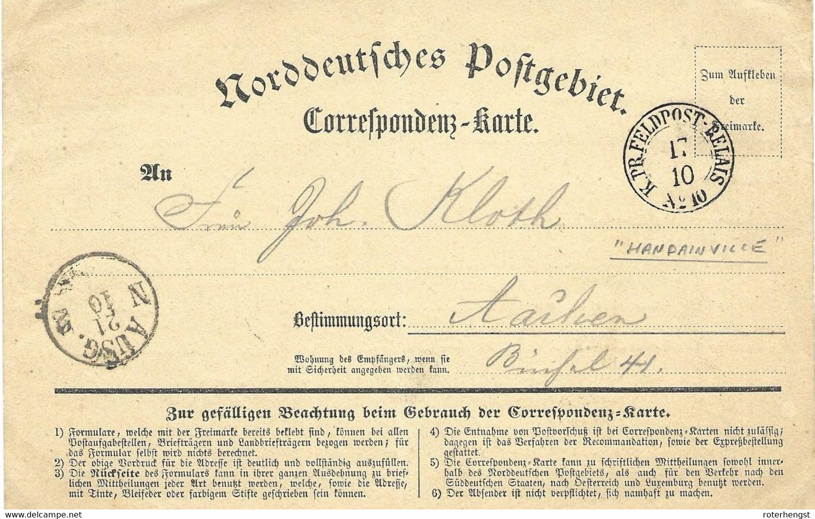 1870-71 Feldpost Card From A German Soldier In Handainville (Feldpost Relais Cancel) - Wars