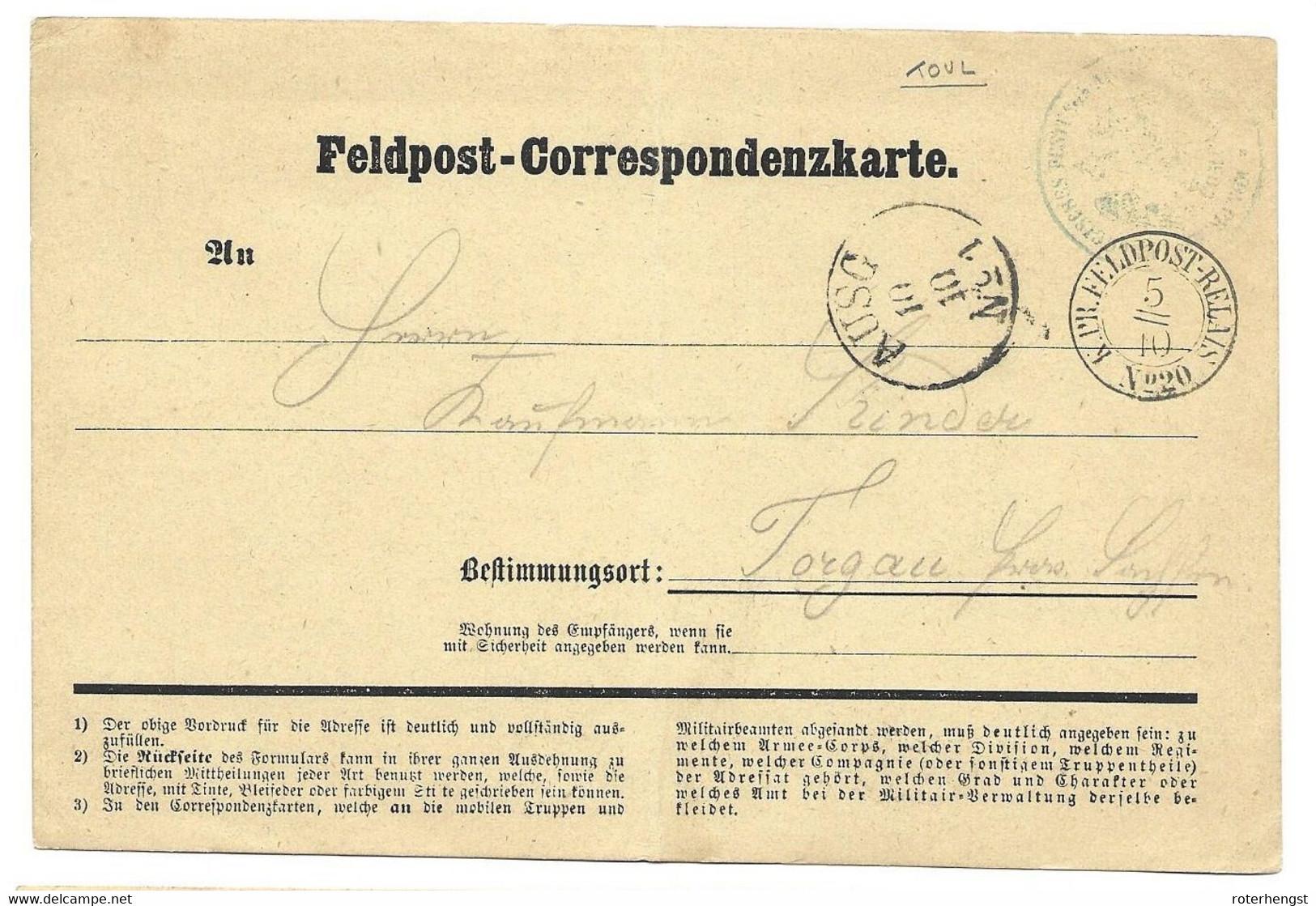 1870-71 Feldpost Card From A German Soldier In Toul (Feldpost Relais Cancel) - Wars