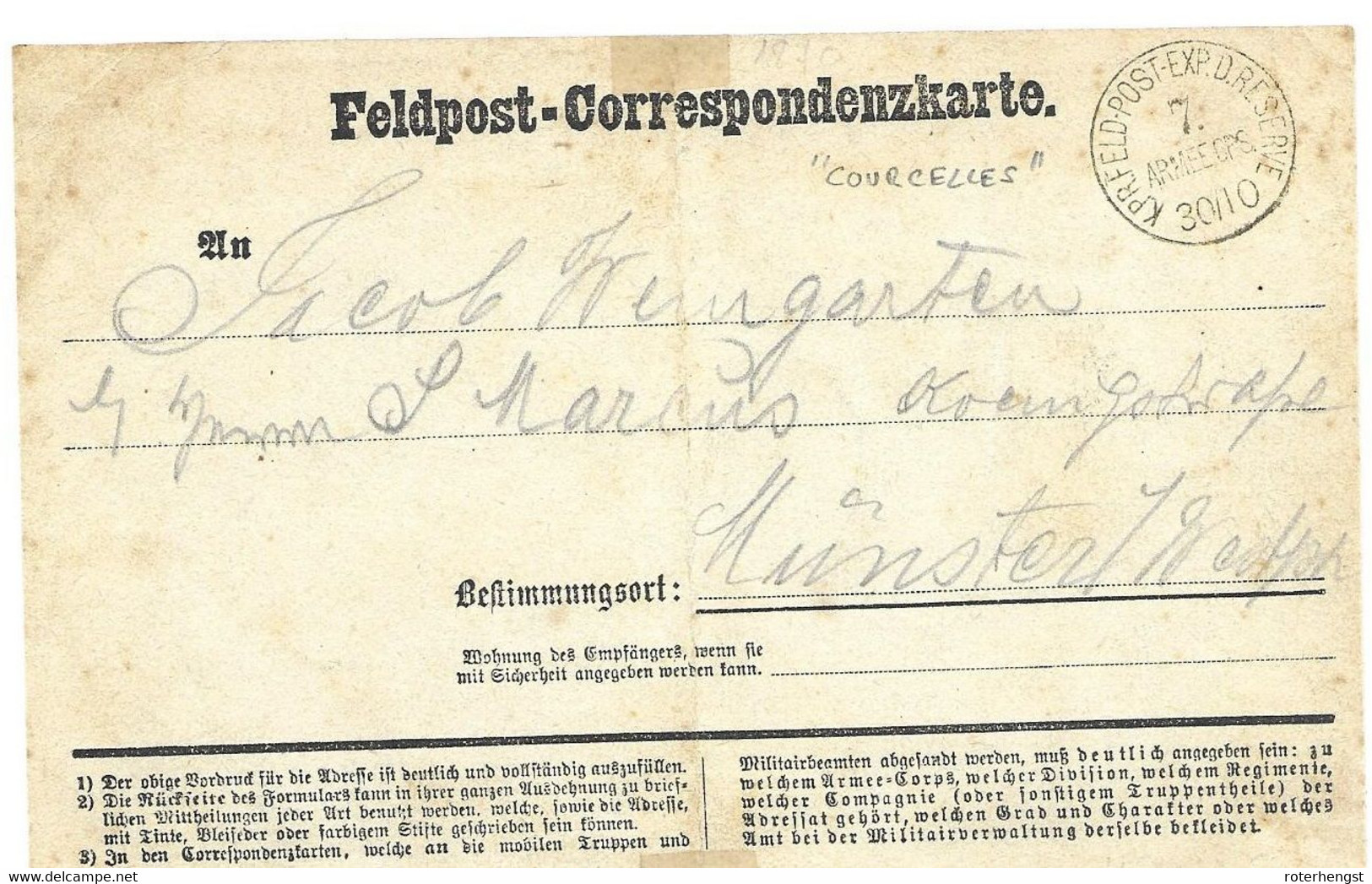 1870-71 Feldpost Card From A German Soldier In Courcelles - Wars