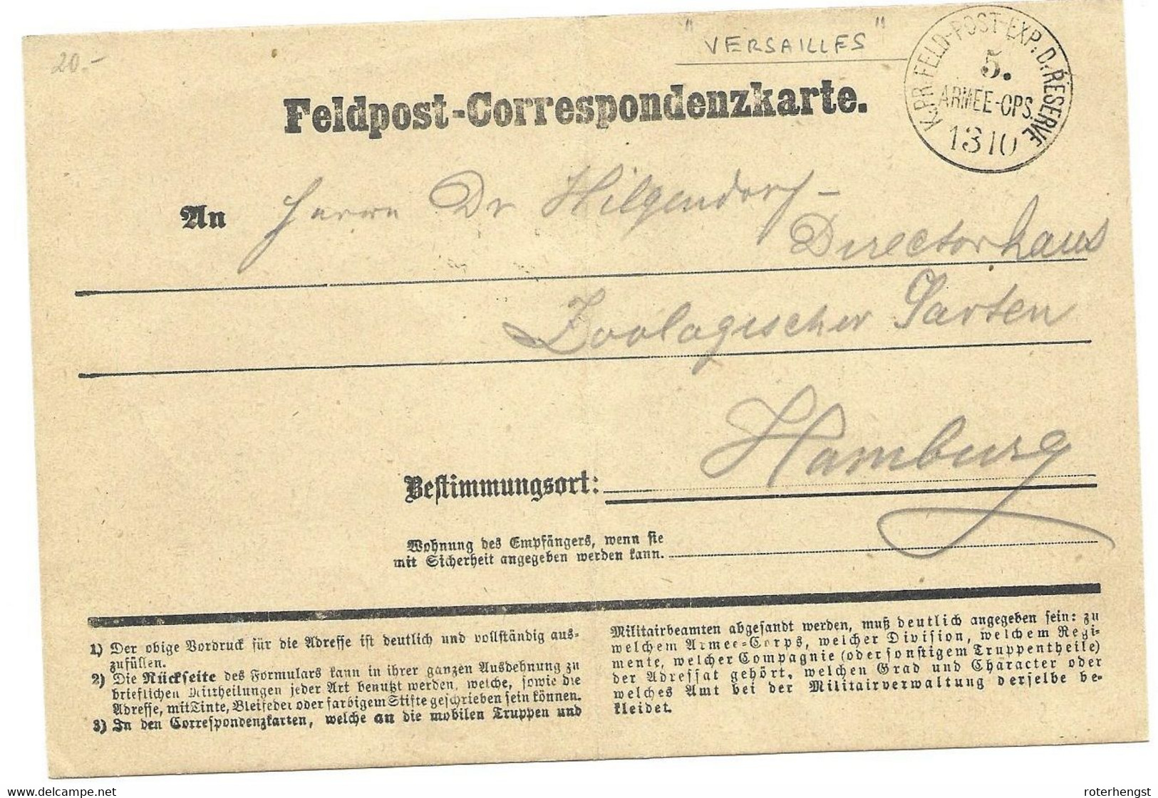 1870-71 Feldpost Card From A German Soldier In Versailles (check My Other Cards Under France/War) - Covers