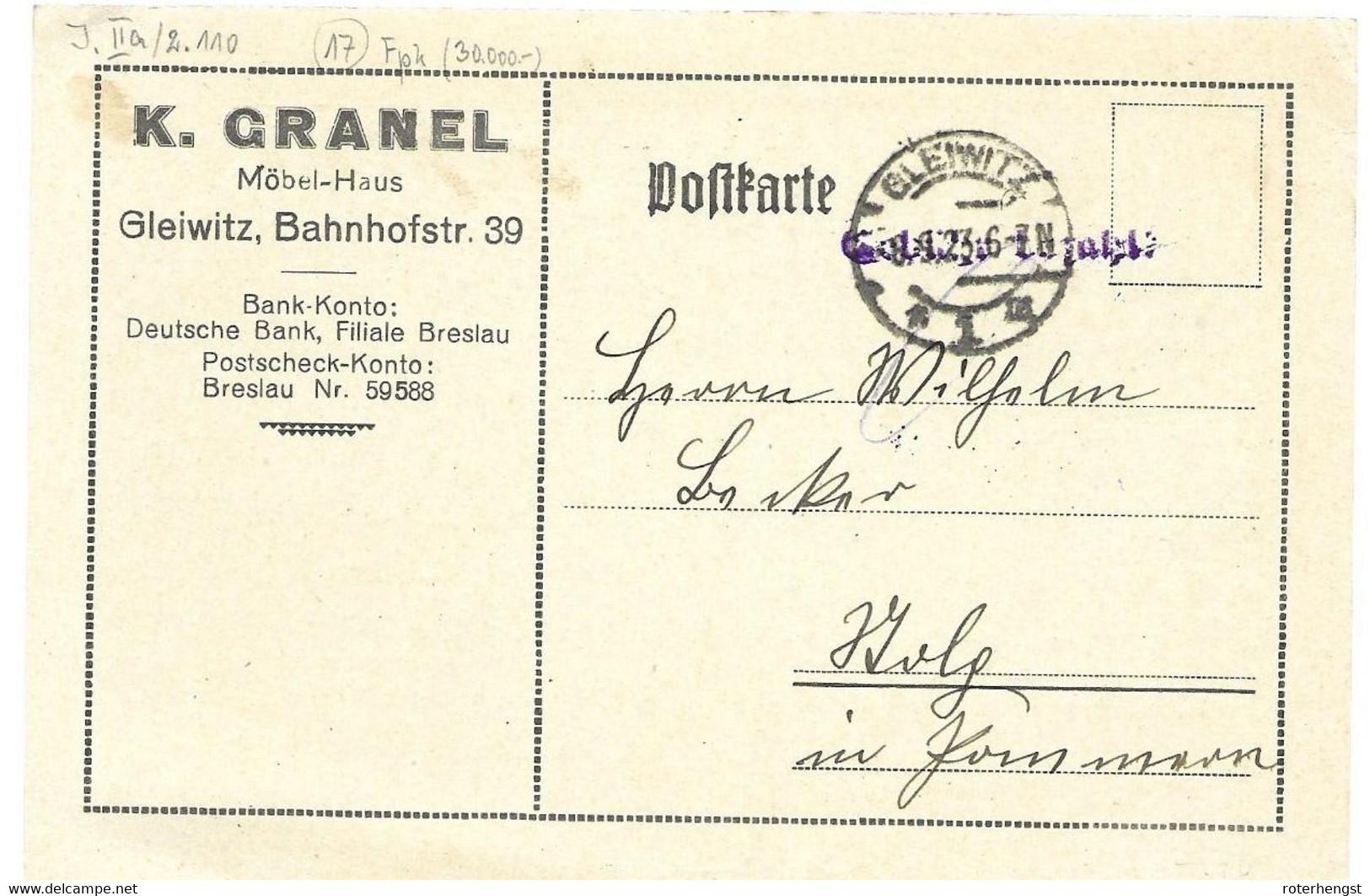 Rare Gleiwitz Taxe Percue Gebuehr Bezahlt 8.9.1923 Inflation  Signed Klickow On Backside - Storia Postale