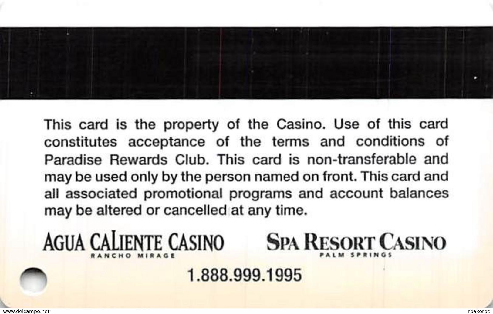 Agua Caliente & Spa Resort Casinos In California, USA - Slot Card - Casino Cards