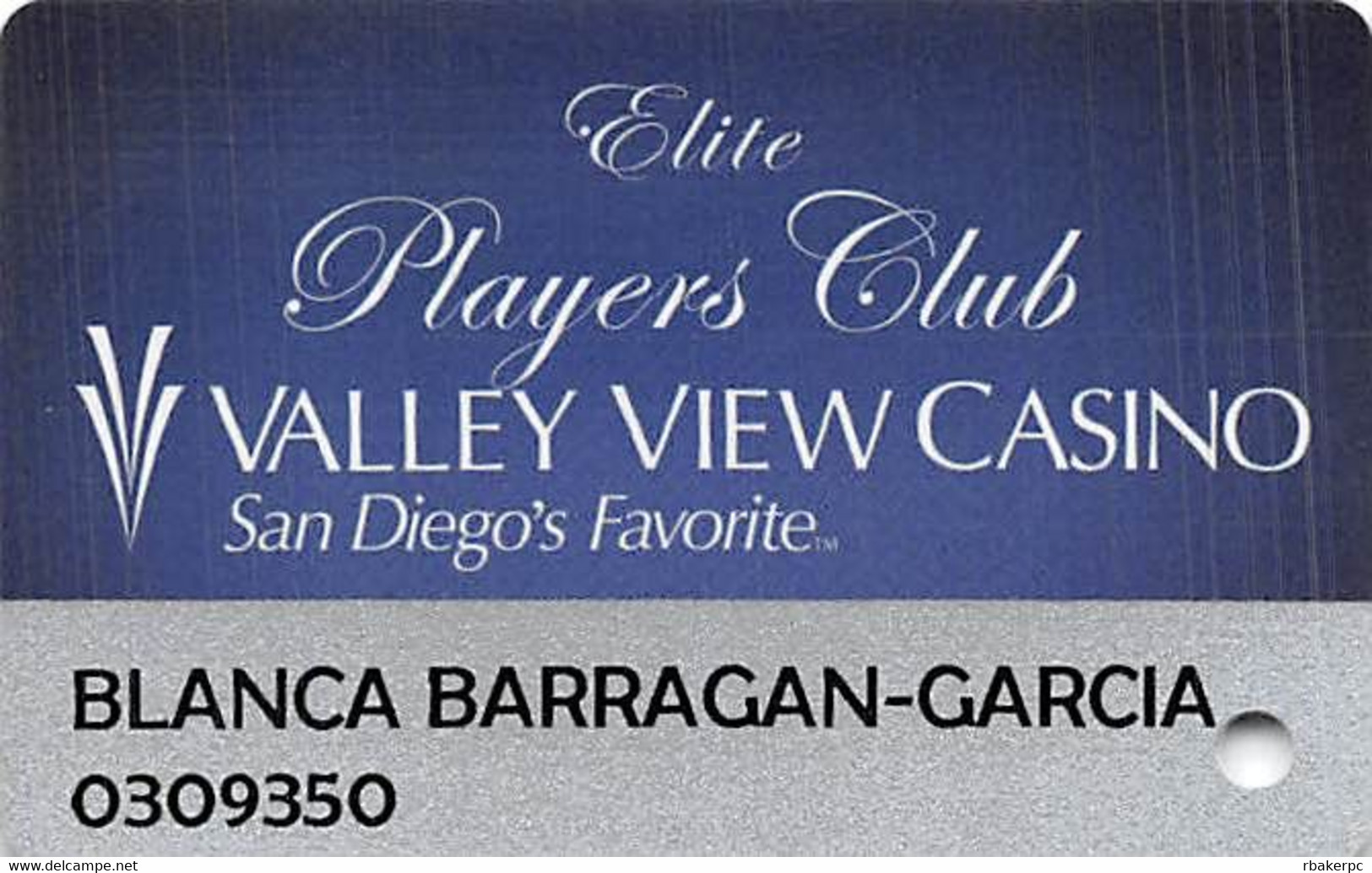 Valley View Casino - Valley Center CA - Elite Slot Card - Casino Cards