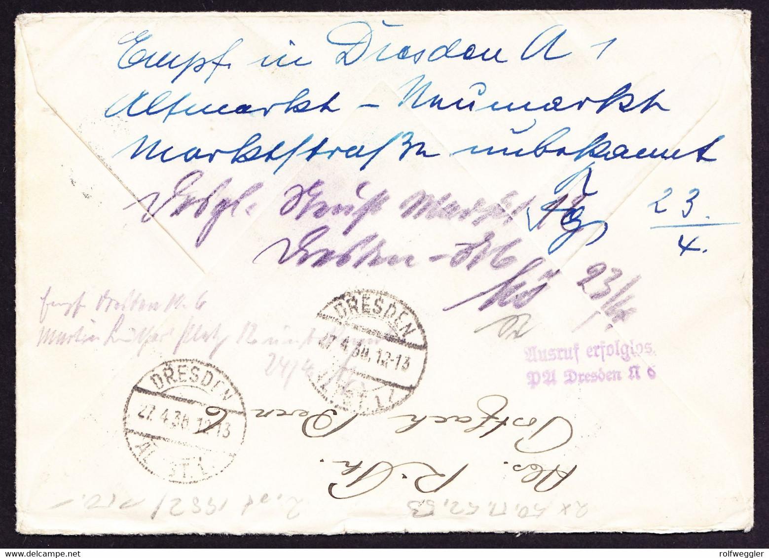 1938 Nachtaxierter Brief Aus Bern Mit Flugpostmarke Nach Dresden. Unbekannt Retour Mit Schweizer Portomarken Versehen - Postage Due