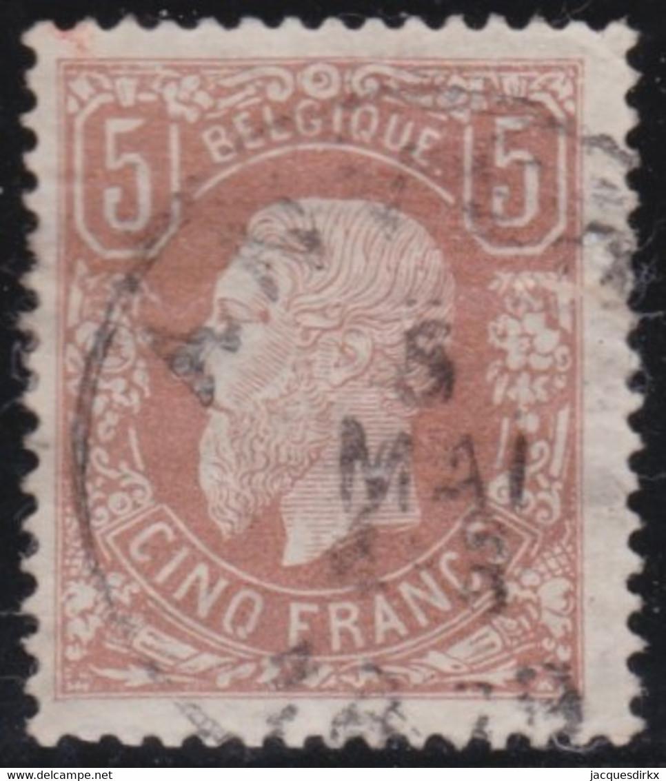 Belgie  .  OBP  .    37A  (2 Scans)  .  Beetje Papier Op Gom       .   O   .   Gebruikt   .   / .   Oblitéré - 1869-1883 Leopold II