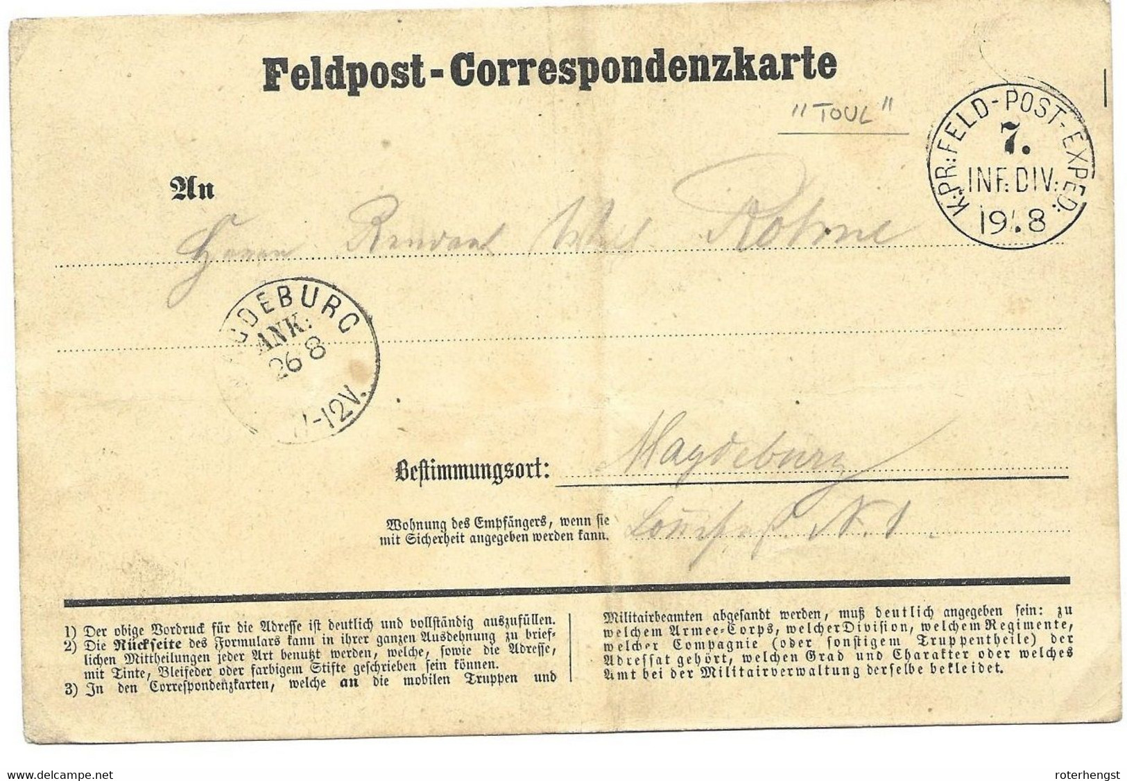 August 1870 German Feldpost Card To Magdeburg - Soldier In Bivac Toul / France - Wars