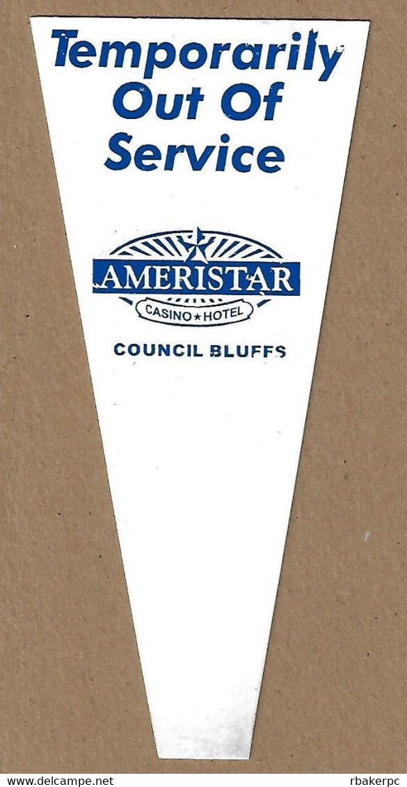 Ameristar Casino - Council Bluffs - Jackpot/Fill & Out Of Order Slot Machine Flag (Font# 1) - Casino Cards
