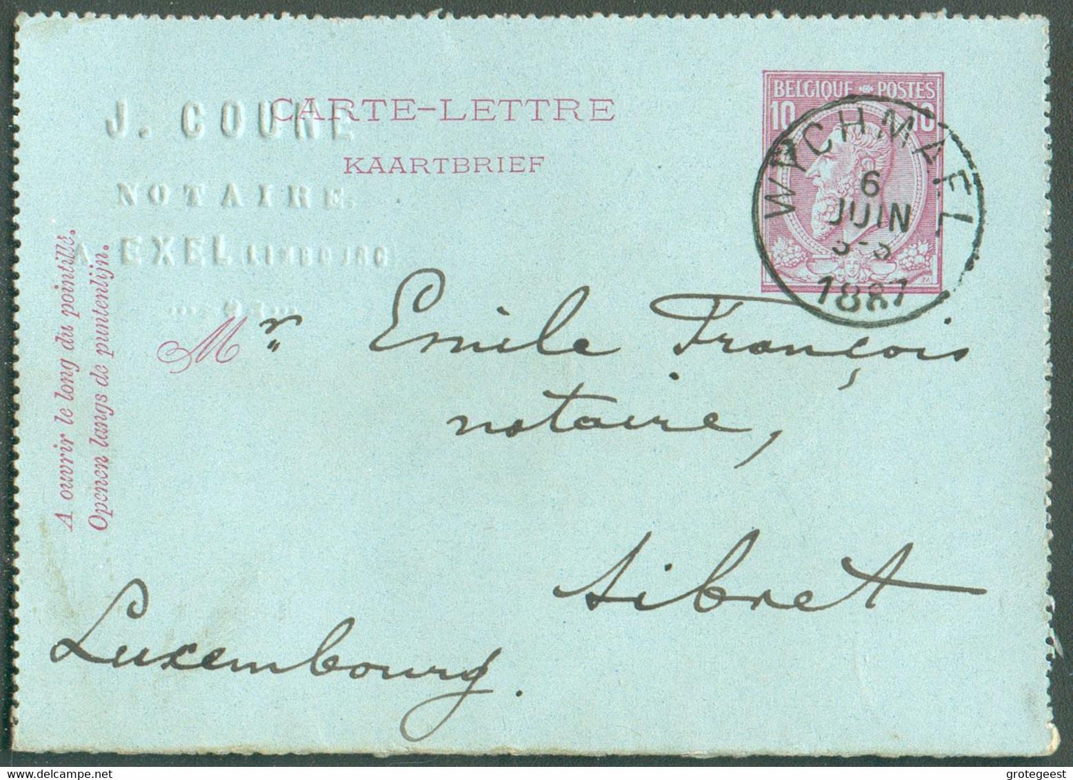 E.P. Carte - Lettre 10 Centimes Datée De EXEL+ Oblit. Sc WYCHMAEL 6 Juin1887 Vers Sibret - TB - 17794 - Kartenbriefe