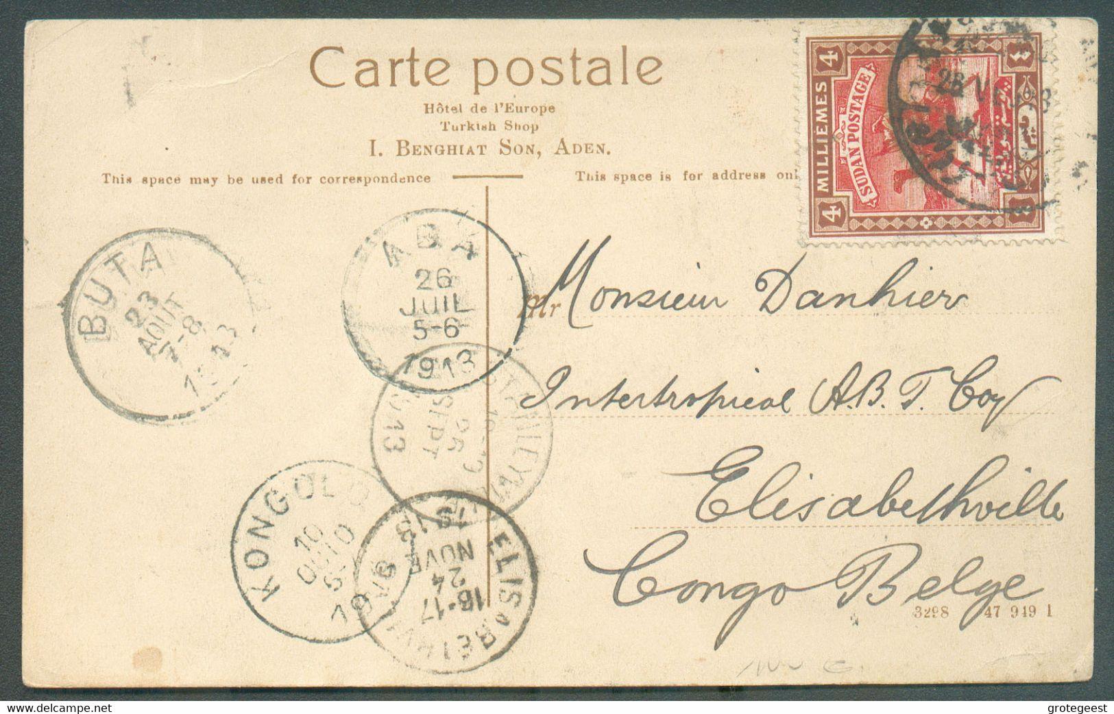 CP Expédiée D'ADEN Le 24 Juin 1913 Via SOUDAN Tp 4 Mill. Obl. S KHARTOUM 28 Juin 1913 (au Verso 29 Juin) Vers ELISABETHV - Ohne Zuordnung