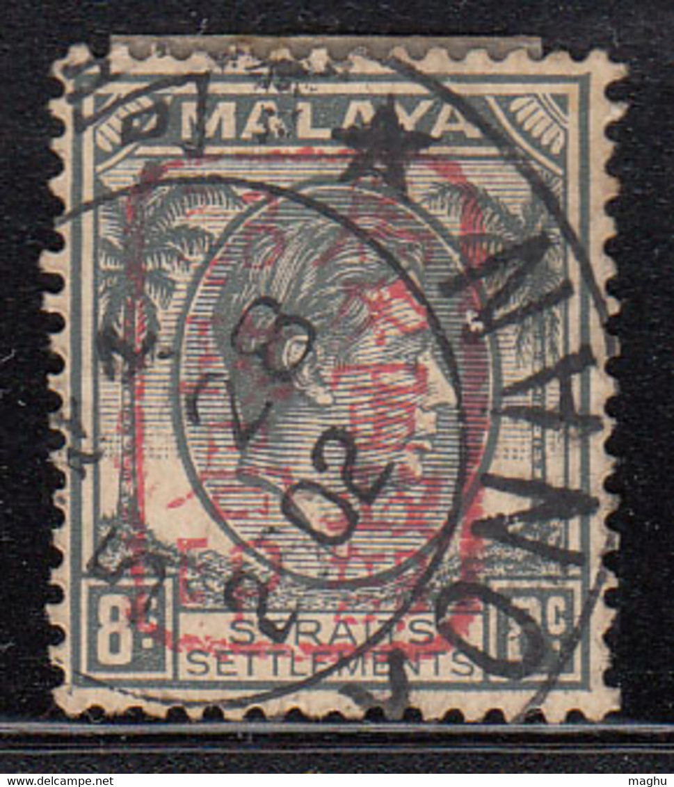 8c Used Chop Ovpt,  KGVI Series Straits Settlements, Military Service, Japanese Malaya Occupation 1942, Cat £20 - Occupation Japonaise
