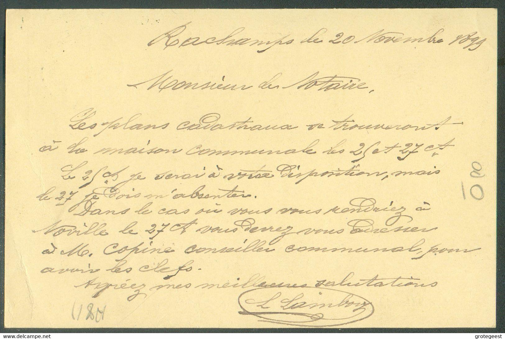 E.P. Carte 5 Centimes Datée De RACHAMPSet Obl. Sc Relais DeBOURCY (LONGWILLY)* 21 Novembre 1899 Vers Sibret. TB - - Cartoline [1871-09]