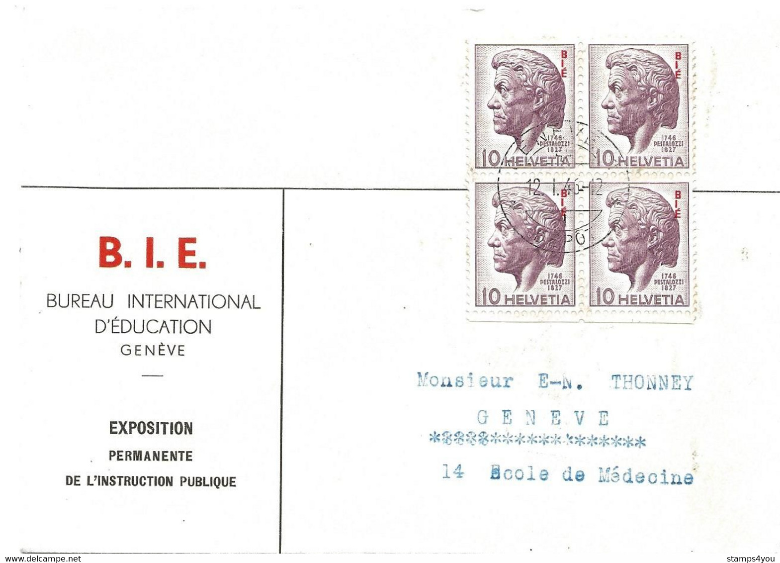 56 - 66 - Enveloppe Bloc De 4 Timbres Suchargés BIE - 12.1.46. Date 1er Jour Des Timbres - Officials