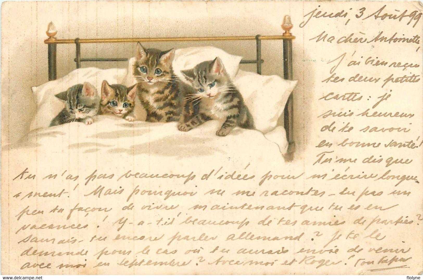 Chats Humanisés - Cats - Chats Couchés Dans Le Lit - Animaux Chat - Cpa Illustrateur - Gatti