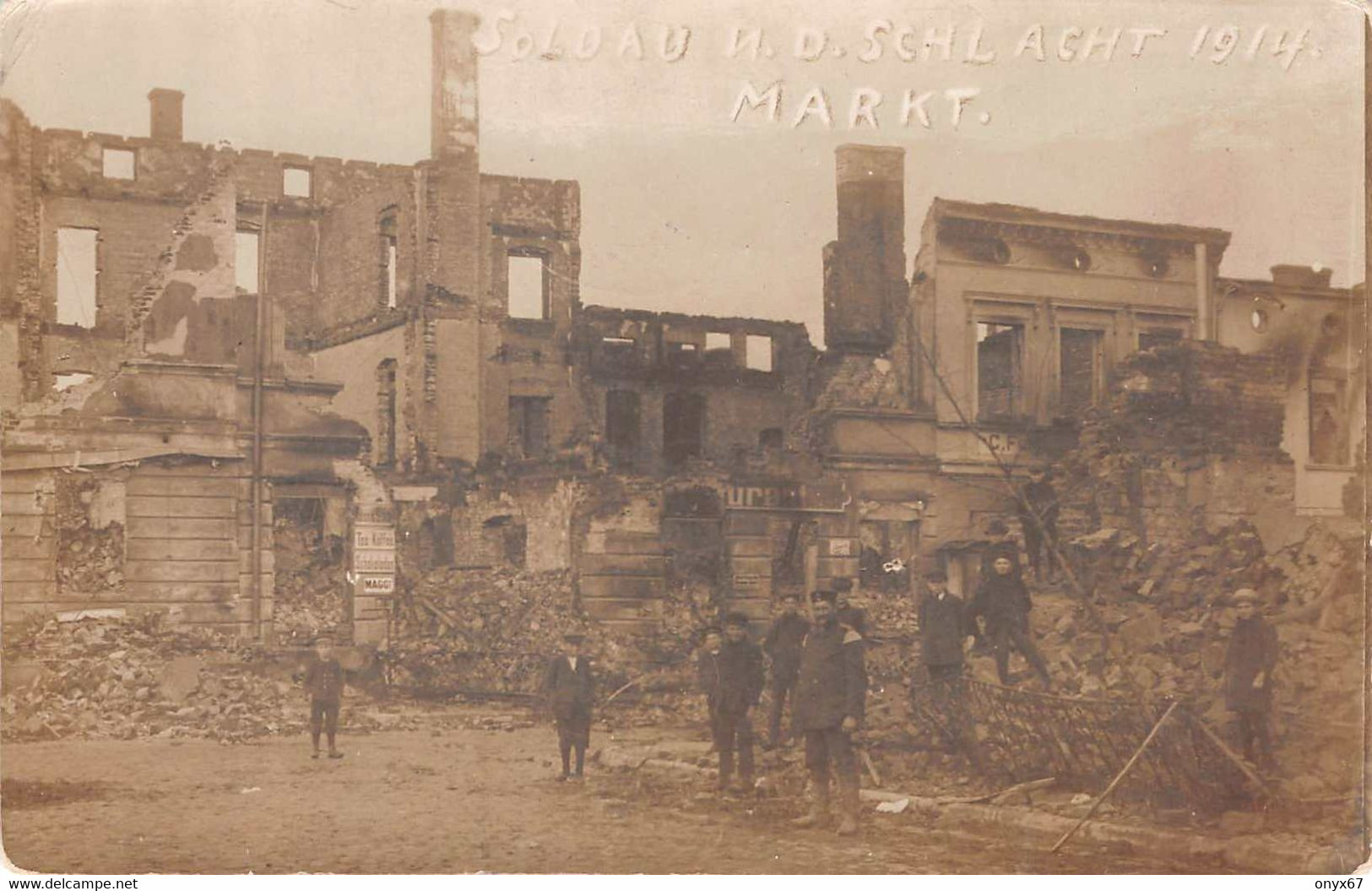Carte Postale Photo SOLDAU-DZIALDOWO-Pologne-Polen-Poland-Polska-Markt-Schlacht 1914-Krieg - Polonia