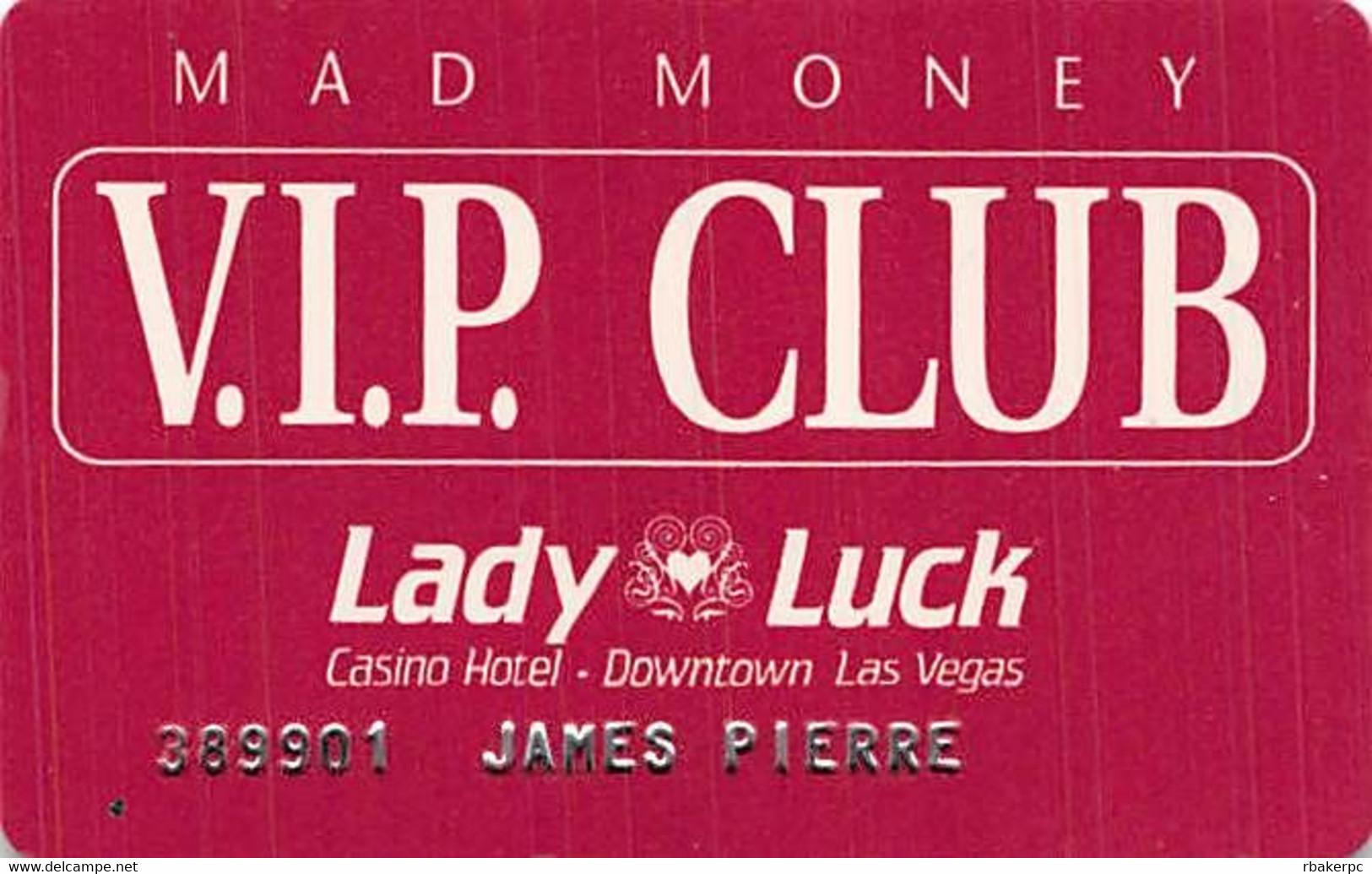 Lady Luck Casino Las Vegas, NV - Embossed VIP Club Slot Card - Casino Cards