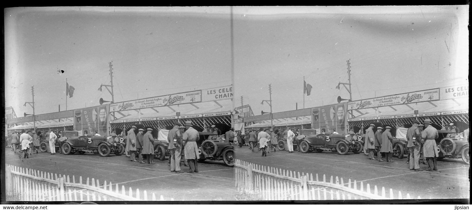 Lot De 8 Plaques De Verre Stéréo Négatives Vers 1928 La Course Des 24 Heures Du Mans  -- GF - Coches