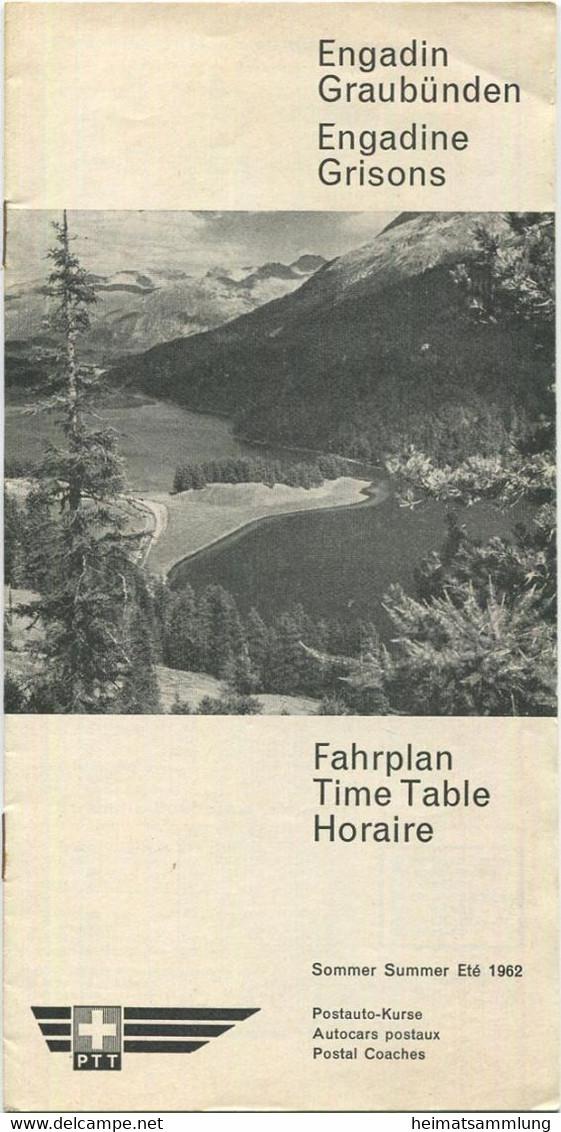 Schweiz - Engadin Graubünden - Sommer Fahrplan 1962 Postauto - 16 Seiten Mit 5 Abbildungen - Europe