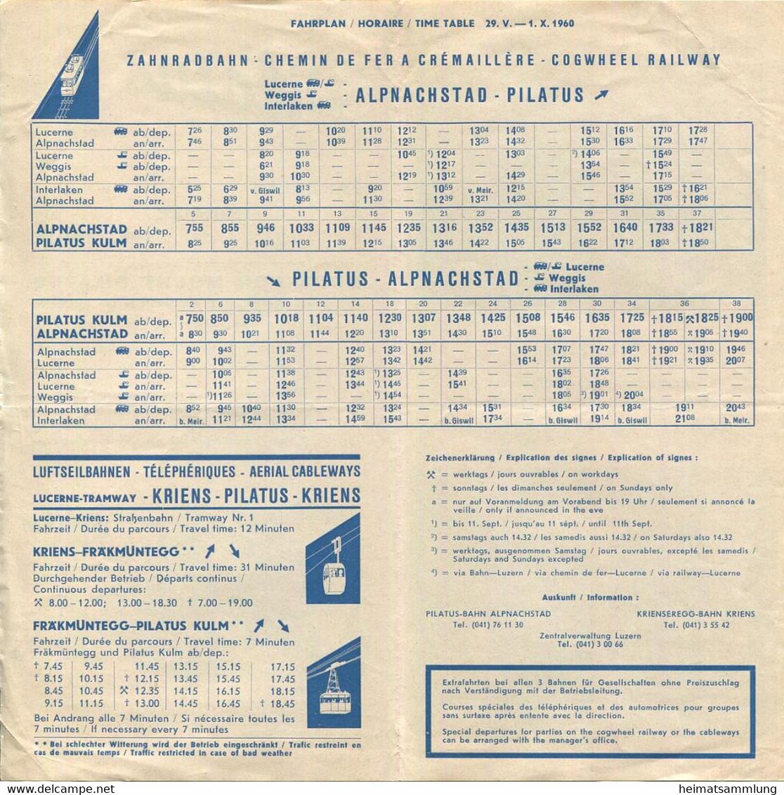 Schweiz - Pilatus - Fahrplan 1960 - Zahnrad- Und Luftseilbahn - Faltblatt Mit 3 Abbildungen - Europe