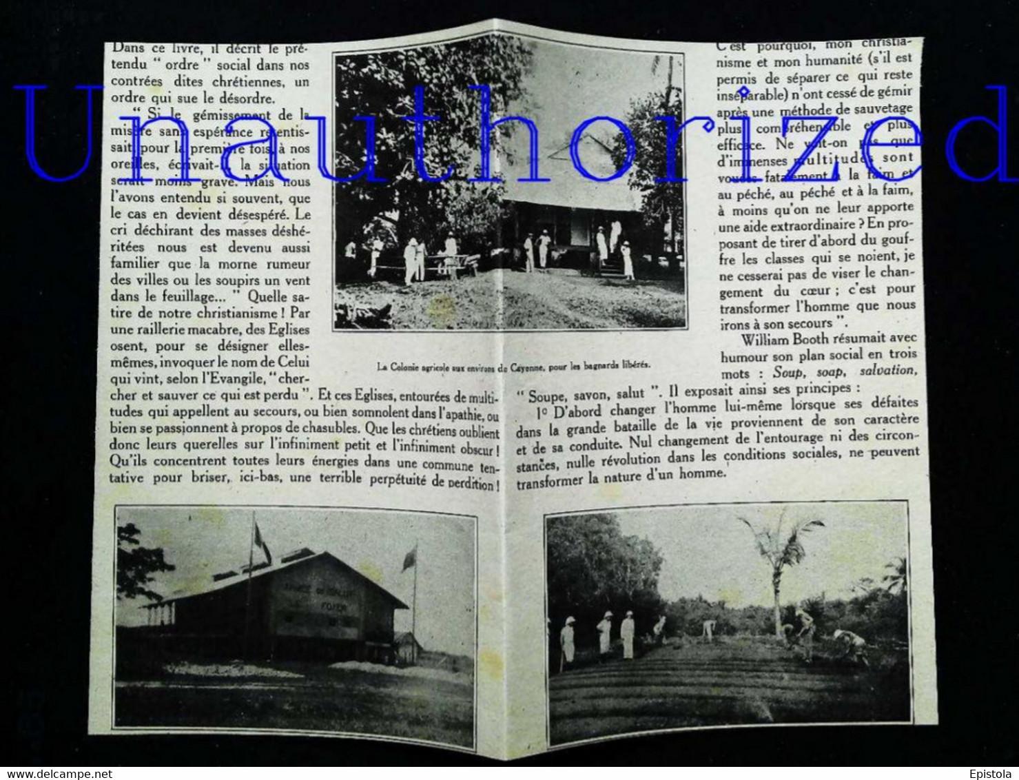 ► CAYENNE - Maison De France (Armée Du Salut) Bagnards Libérés - Coupure  De Presse Originale Début XXe (Encadré Photo) - Machines