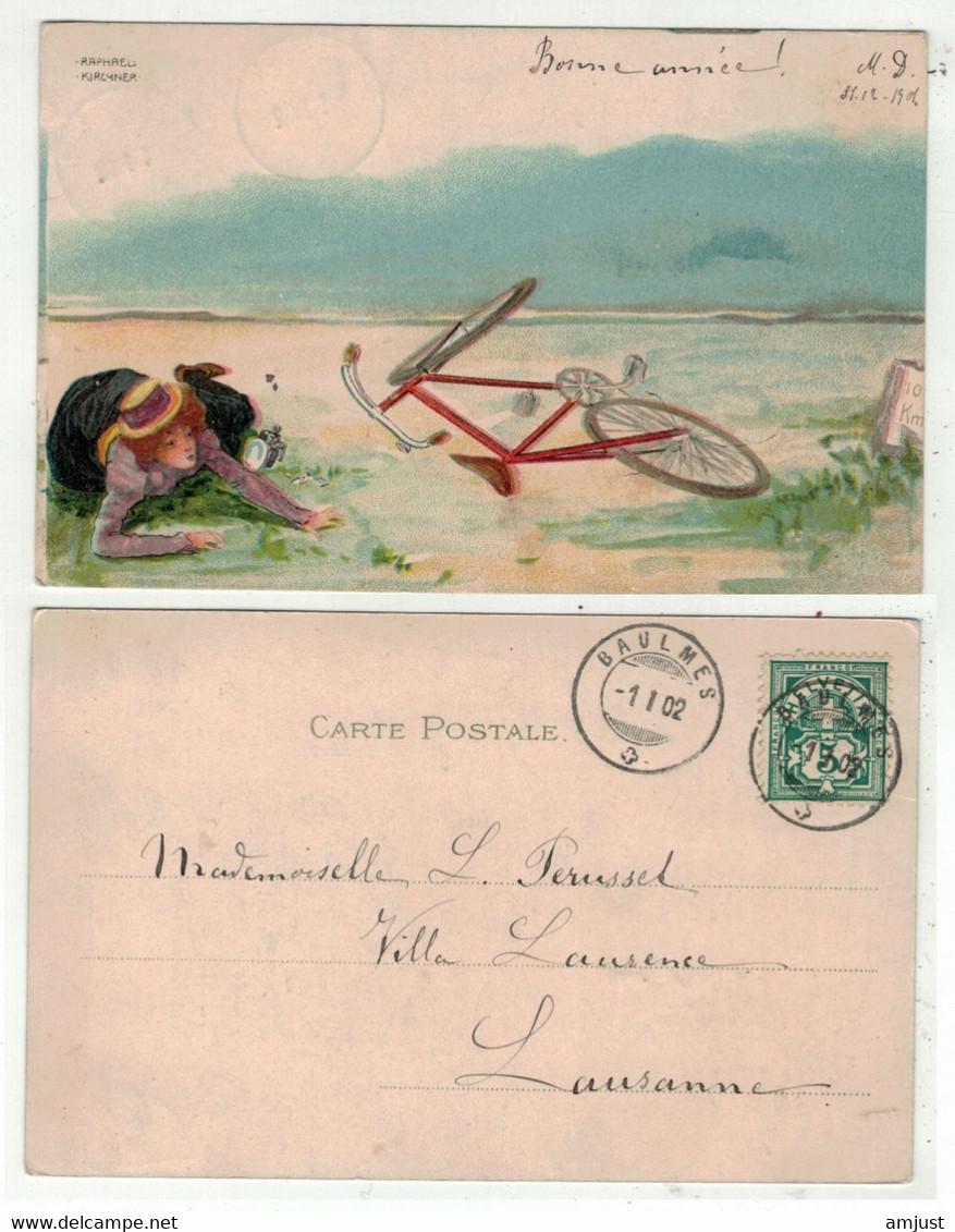 Illustrateurs Signés  // Art Nouveau, Femme Et Bicyclette De Raphael Kirchner (superbe) - Kirchner, Raphael