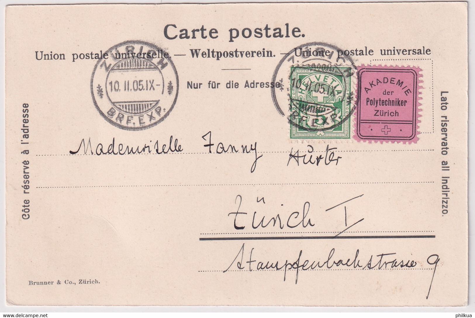 65B / Michel 53Y Mit Vignette Akademie Der Polytechniker Zürich - Auf Ansichtskarte Einladungskarte Akademie..... - Cartas