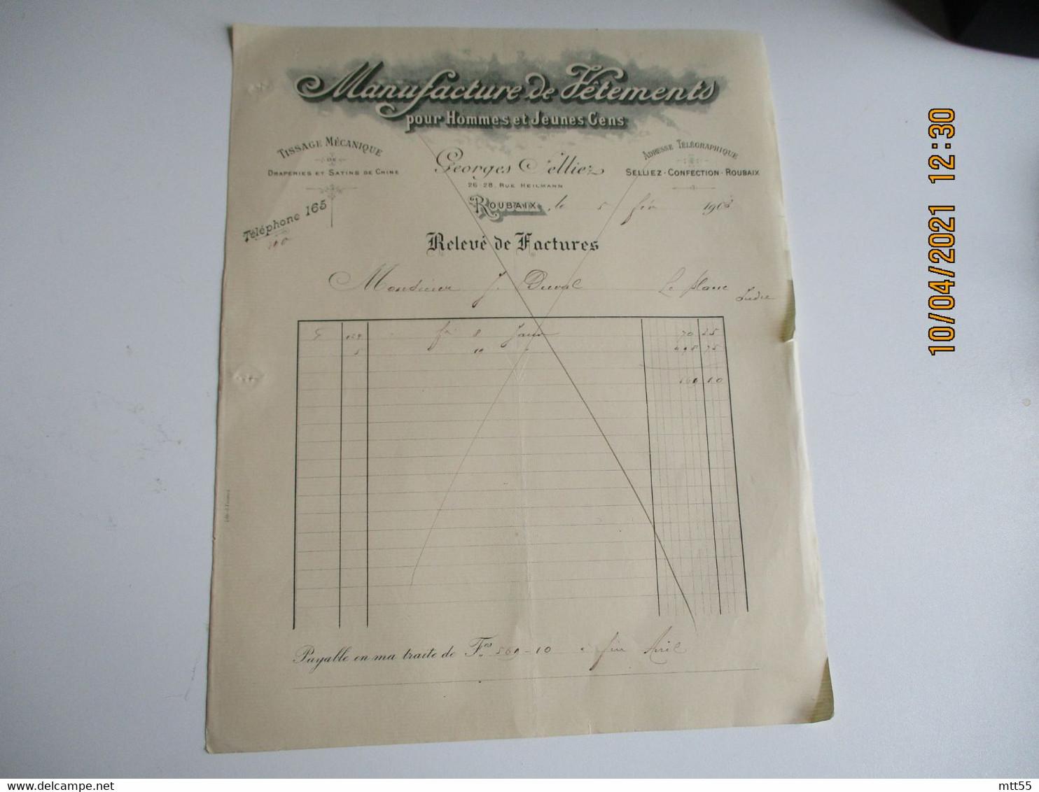 Roubaix  Georges Selliez Manufacture Vetements Facture Illustree - 1900 – 1949