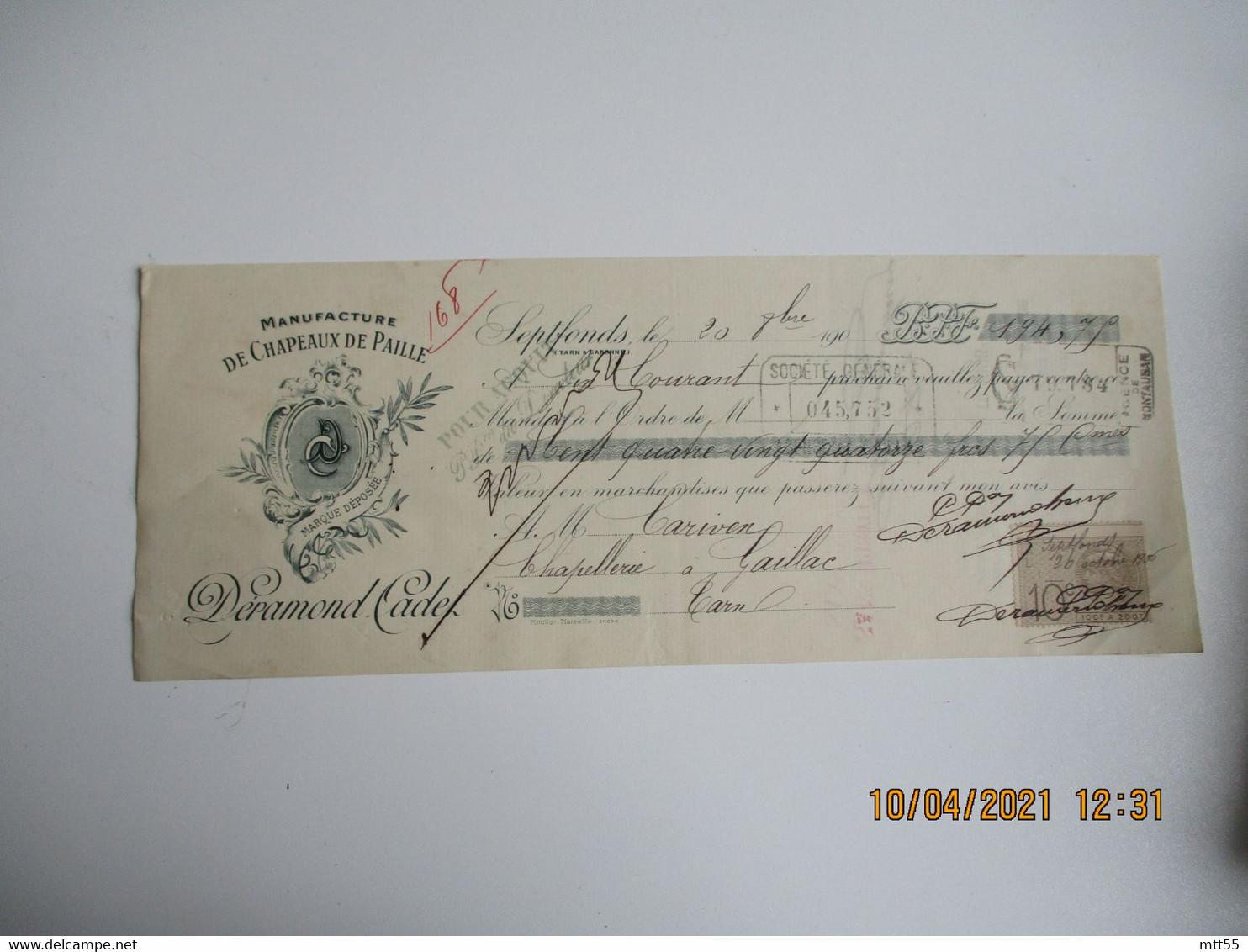 Lot De 3 Septfonds  Chapeau De Paille Deramond Facture Lettre De Change - 1900 – 1949