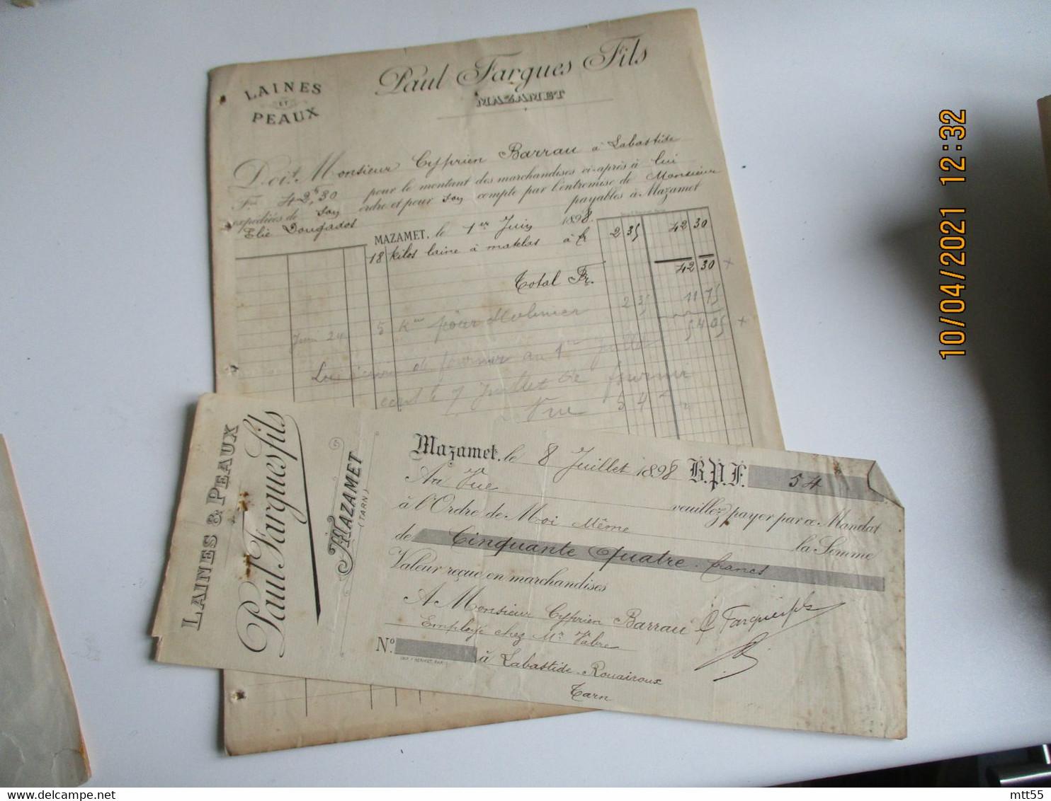 1898 Mazamet Paul Fargues Laines Peaux Facture Lettre De Change - 1800 – 1899