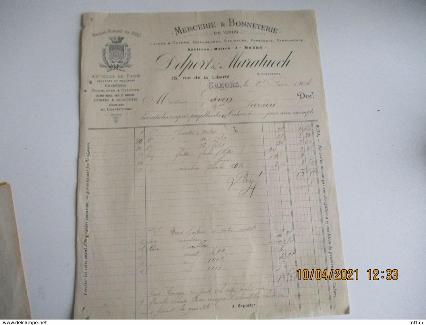 1904 Delport Maratuech Cahors Mercerie Bonneterie - 1900 – 1949