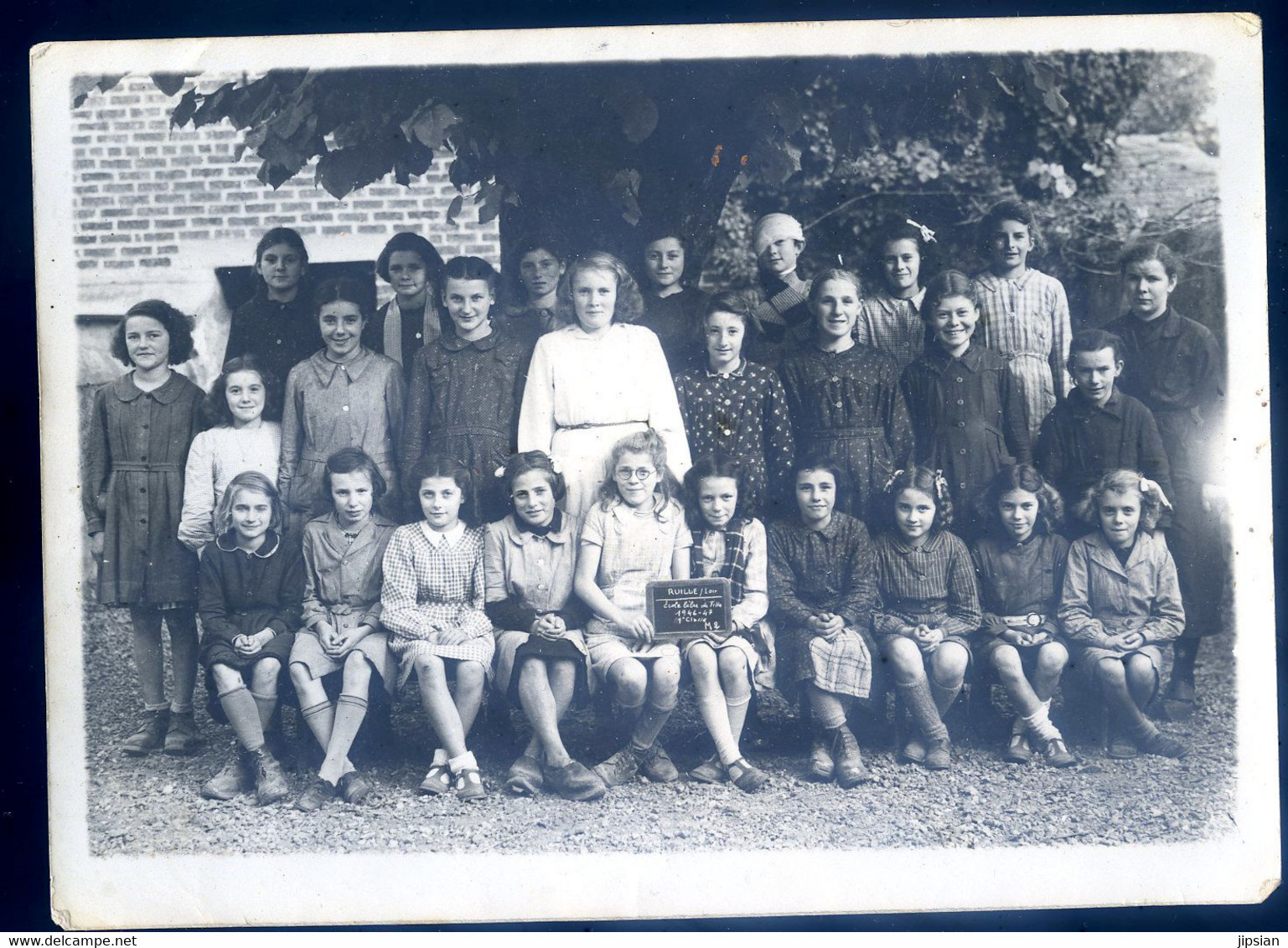 Photo Originale (18 X 13 Cm) école Libre De Filles De Ruillé Sur Loir Sarthe 1946/47 1ère Classe M2   --- Z1 - Places