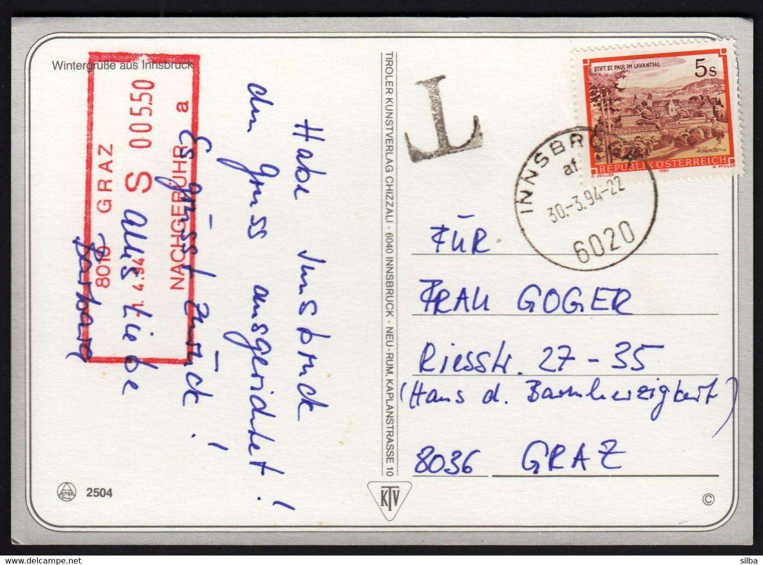 "Austria Innsbruck 1994 / ""T"" Mark And Boxed NACHGEBÜHR Mark Graz 1. 4. 94., S 5.50 - 1991-00 Cartas"