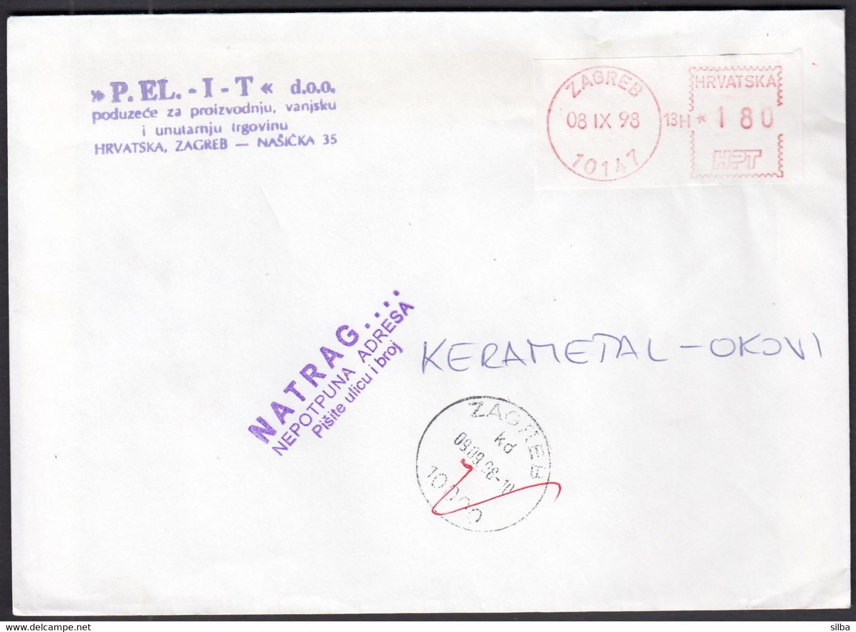 Croatia 1998 / Post Machine Printed Stamp, Label / White-red / Post Office Zagreb 10147 / Back Return Incomplete Address - Croacia