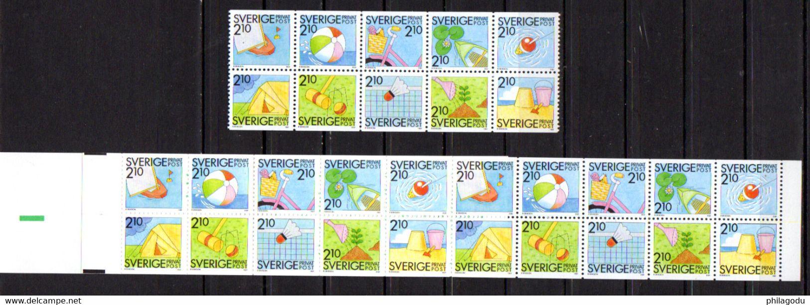 Suède1989, Summer Holiday On The Beach, Les Plaisirs D'été, 1524 / 1533** + C 1524**, ( Sek 63,-) - Ongebruikt
