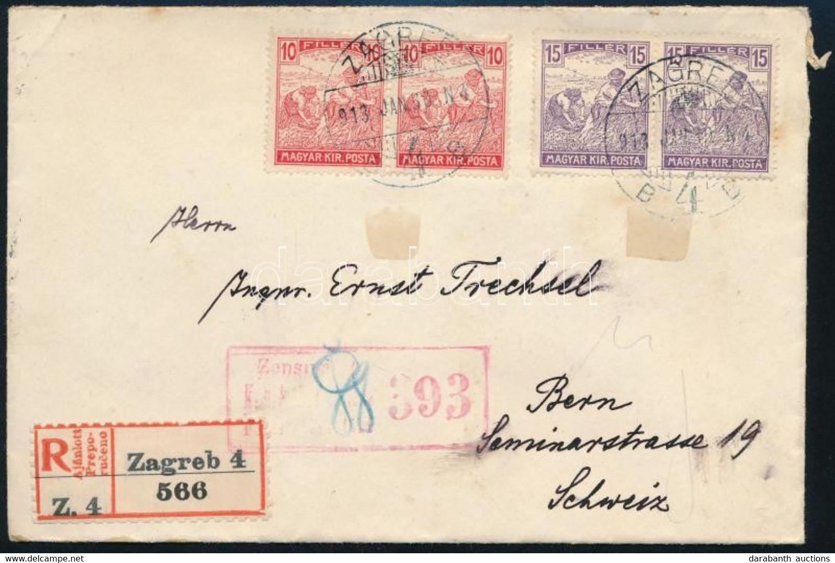 """1918 Ajánlott Cenzúrázott Levél Bernbe / Registered Censored Cover To Bern """"ZAGREB"""" - Unclassified"""