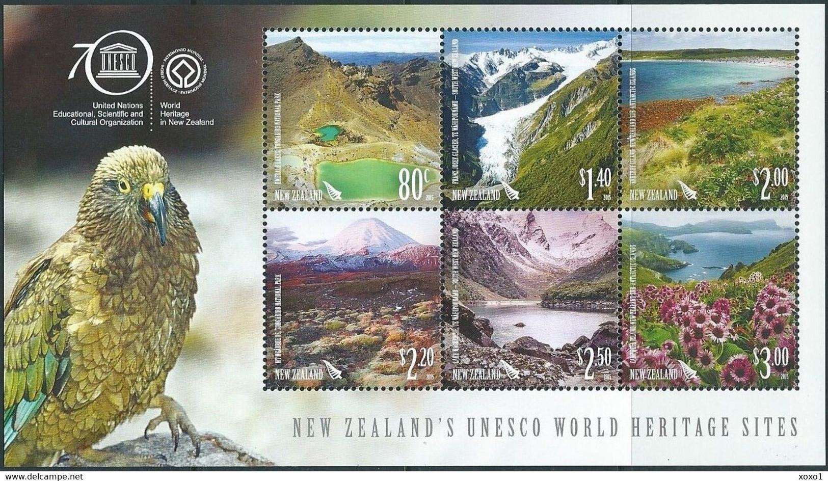 New Zealand 2015 MiNr. Block 360 Neuseeland BIRDS Parrots UNESCO HERITAGE SITES S\sh MNH** 15,00 € - Ungebraucht