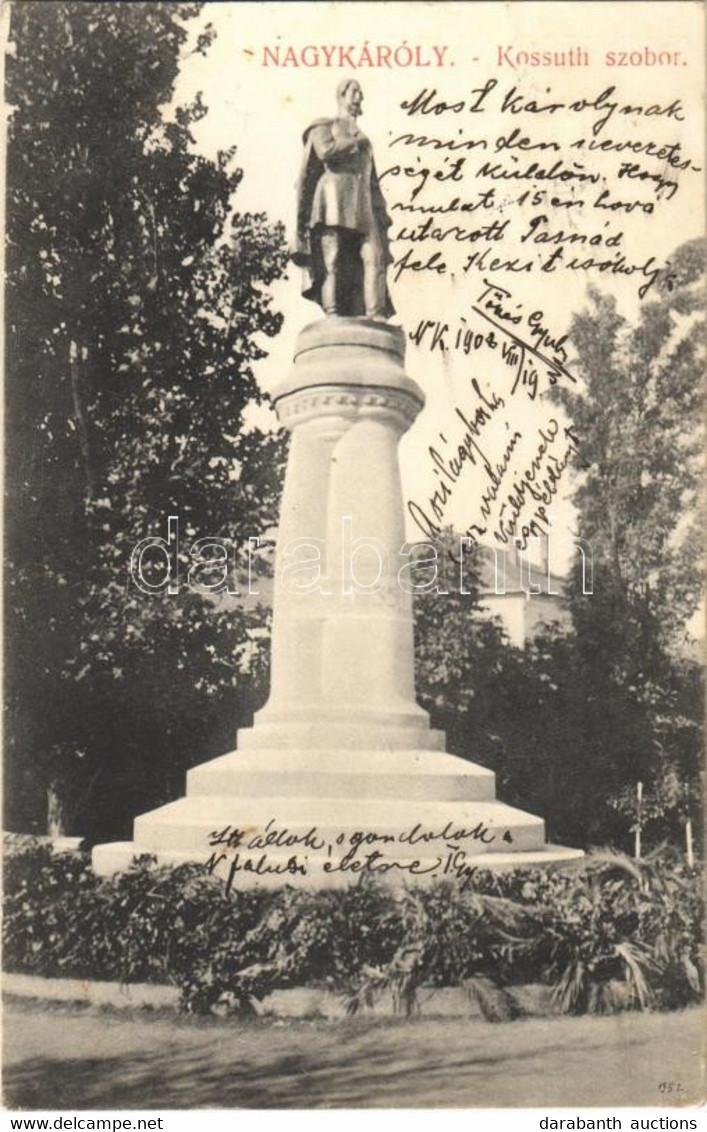 T2 1908 Nagykároly, Carei; Kossuth Szobor (1920-ban Ledöntötték). Csókás László Kiadása / Statue (demolished In 1920) - Unclassified