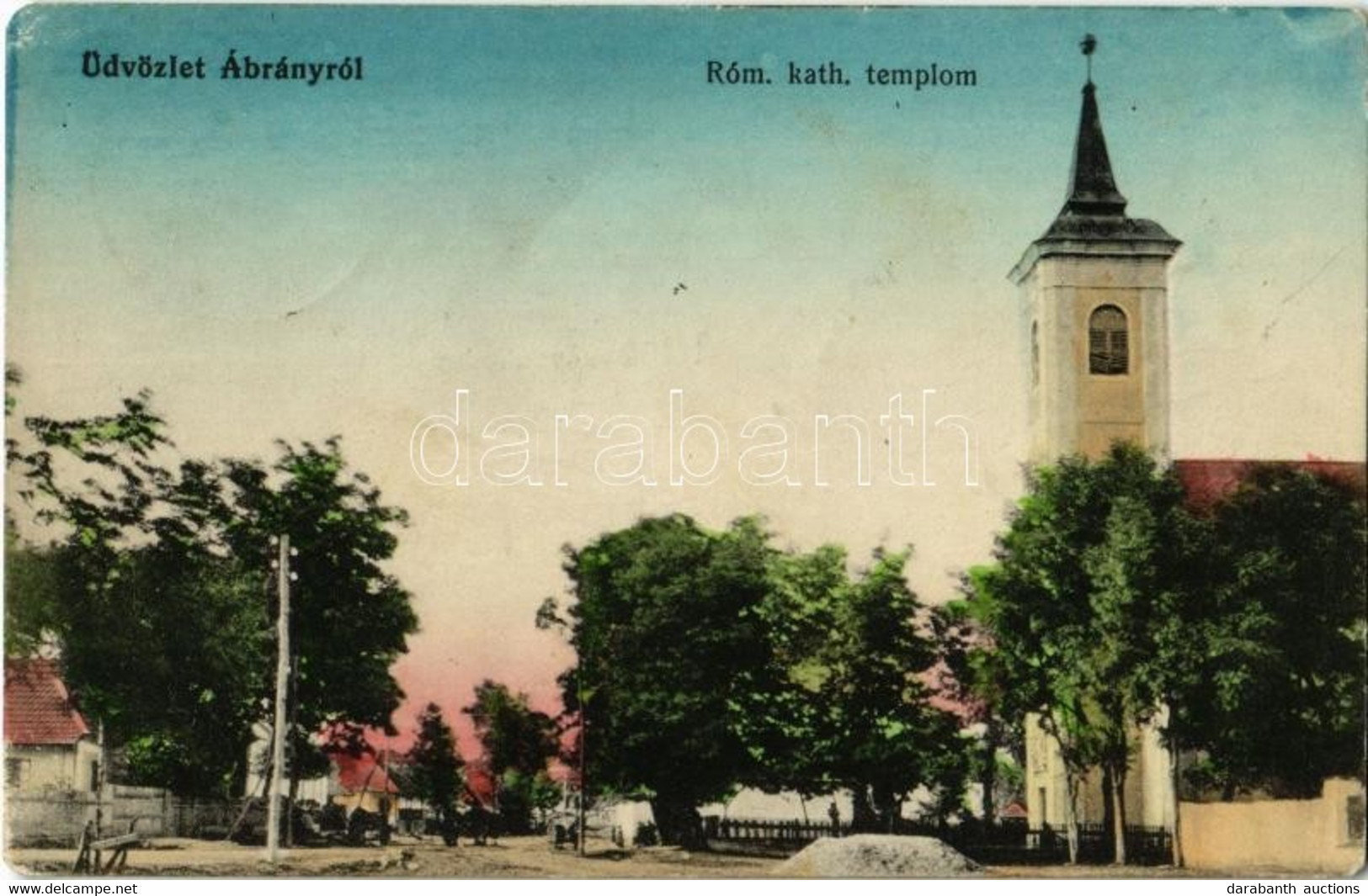 T2/T3 1914 Ábrány, Abranovce; Utcakép, Római Katolikus Templom / Street View With Church (Rb) - Unclassified