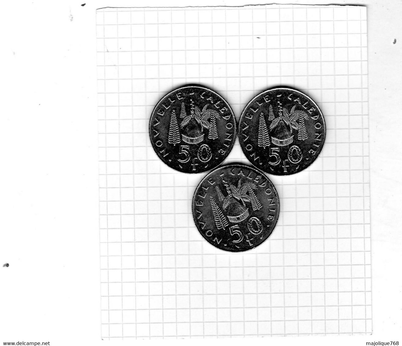 Monnaie De La Nouvelle-Calédonie - Lot De 3 Piéces De 50 Francs 1992 IEOM Marianne / Hutte En Nickel - TTB+ - New Caledonia