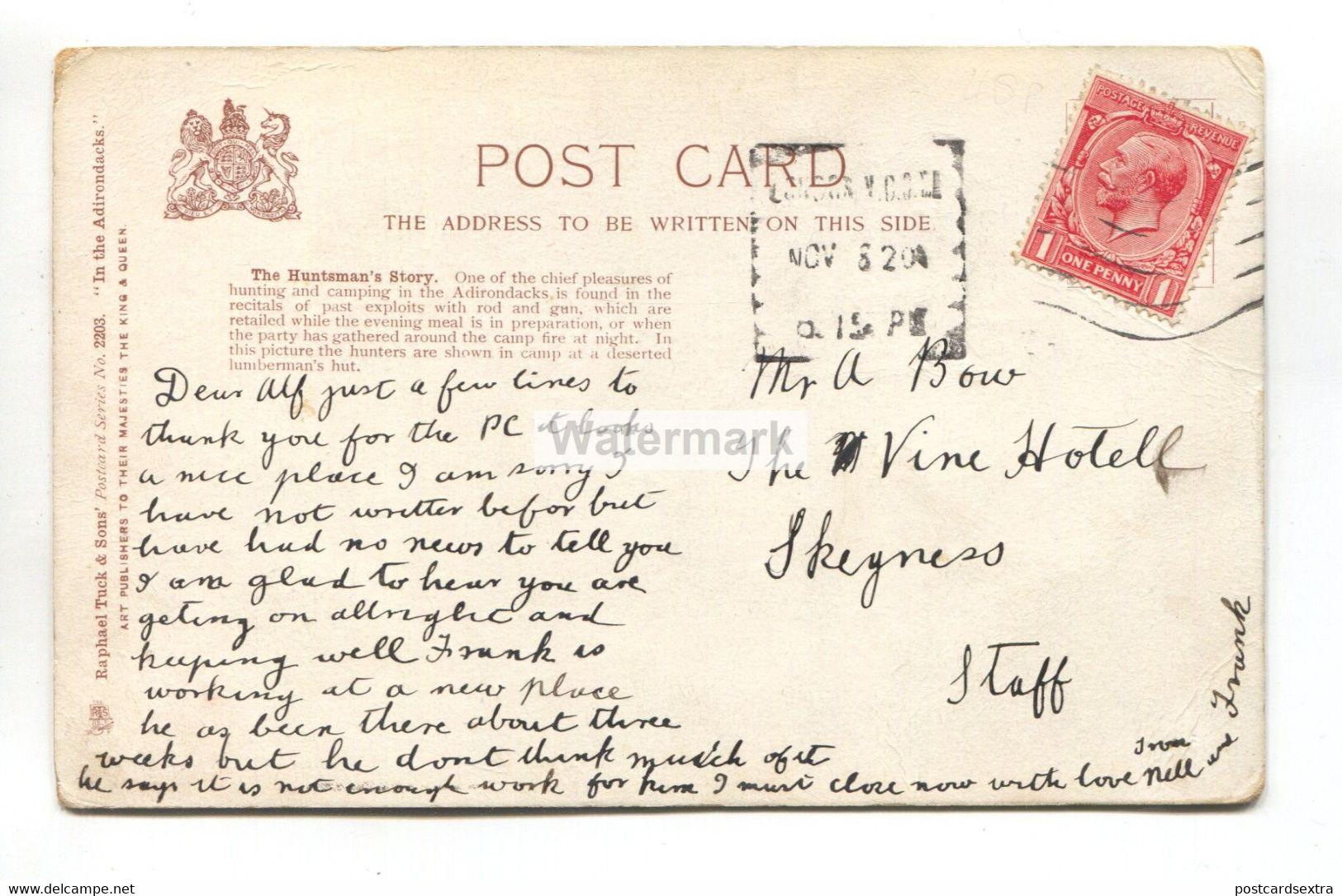 In The Adirondacks, New York, The Huntsman's Story - Tuck Postcard No. 2203, Used In 1920 - Adirondack