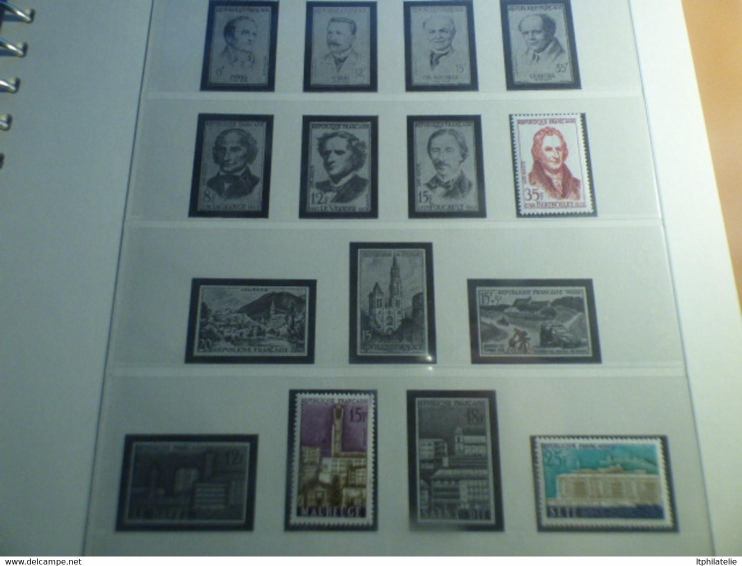DESTOCKAGE-COLLECTION FRANCE  1950-1960 NEUFS** DANS ALBUM LINDNER PREIMPRIME  HAUT DE GAMME + BOITAGE.    A COMPLETER - Collections