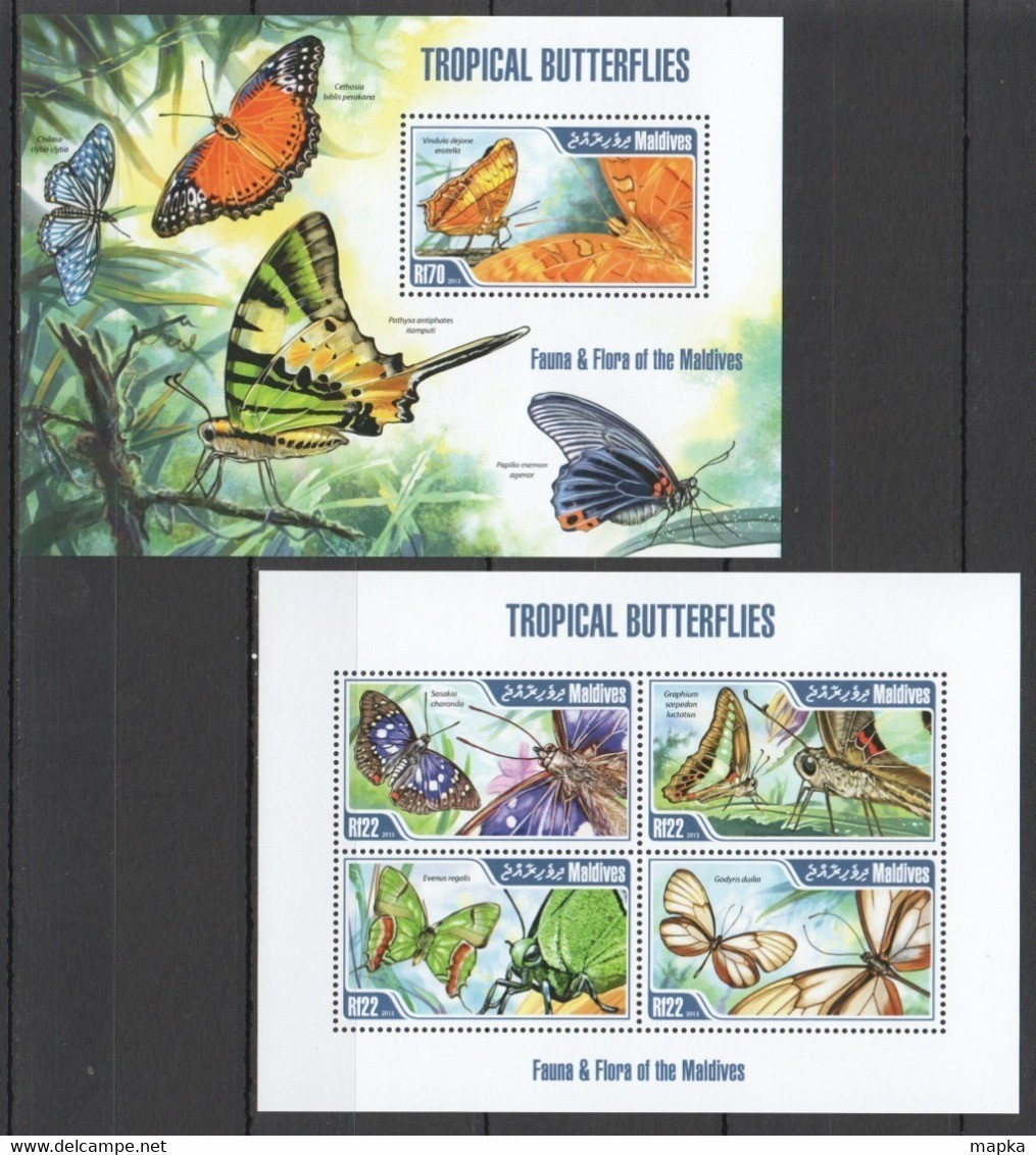 XX211 LAST 3 IN STOCK 2013 MALDIVES FAUNA & FLORA INSECTS TROPICAL BUTTERFLIES KB+BL MNH - Mariposas