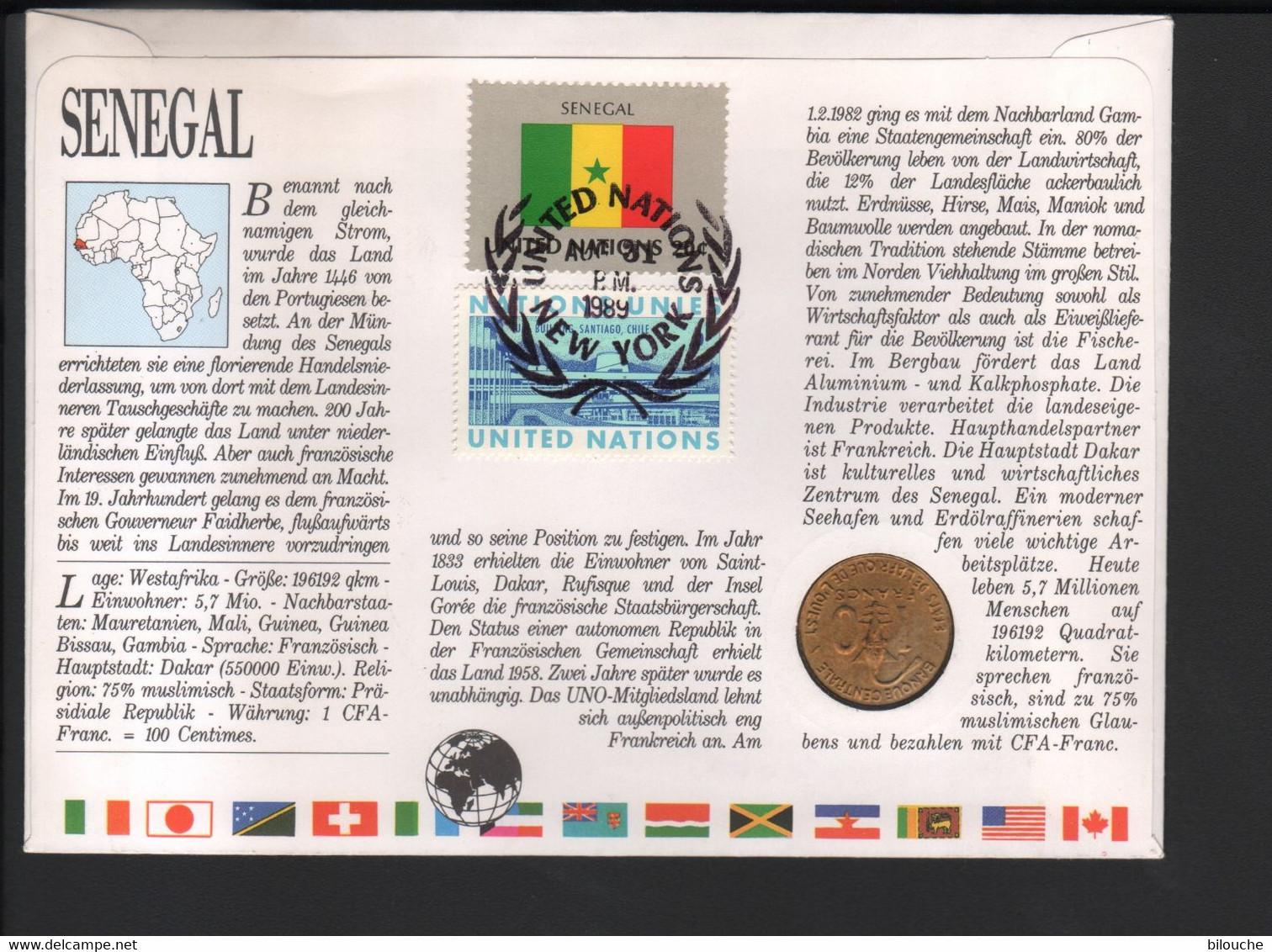 BUZIN / FDC AVEC PIECE COMMEMORATIVE / O.N.U. / SENEGAL 1988 / DAMA GAZELLE - 1985-.. Vogels (Buzin)