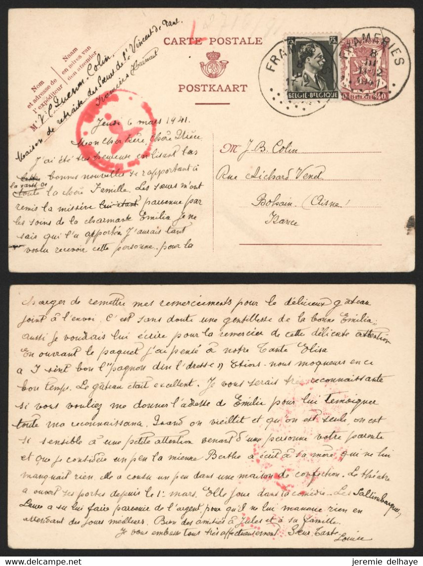 "Guerre 40-45 - EP Au Type 40ctm Lilas + N°480 Obl Simple Cercle ""Frameries"" (1941) > Bohain (France) + Censure - Lettres"