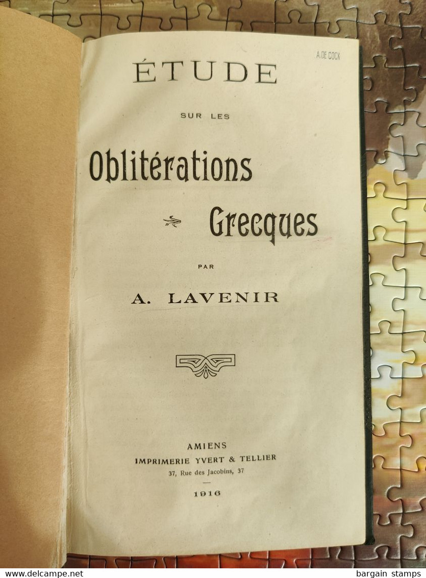 Etude Sur Les Oblitérations Grecques - A. Lavenir - Yvert - 1916 - 1 Page Avec Du Scotch - Motive